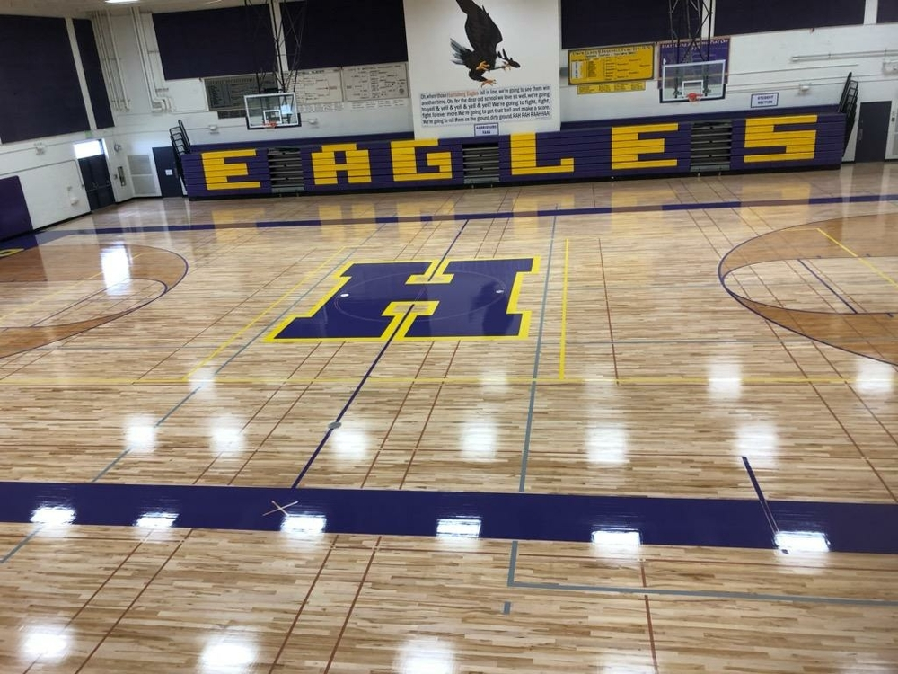 Refinished high school gym floor