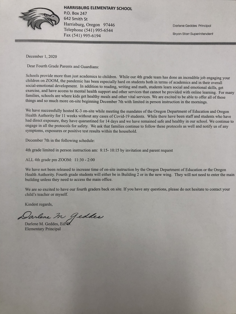 Letter for fourth grade parents