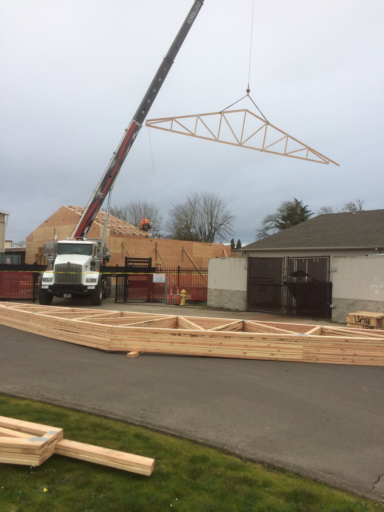 Classroom additions had trusses installed this morning.