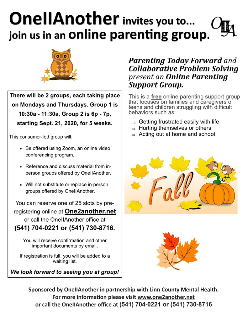 Zoom Parent support group for Fall